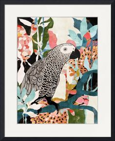 """Parrot In The Jungle"" by Cozamia Art, Canada // This collage artwork combines hand drawn elements with painted shapes and patterns derived from various colorful paintings. Soft pinks and blues create a vivid contrast against the pops of black. // Imagekind.com -- Buy stunning fine art prints, framed prints and canvas prints directly from independent working artists and photographers."