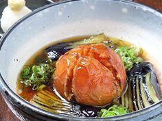 Okayama|岡山(おかやま)|Restaurant|彩食酒屋 火と粋 HITOIK| 茄子とトマトの揚げ出し | 贅沢に丸ごと一つ使ったトマトと、みずみずしい茄子を揚げ出しに。特製あんがよく浸み込んでいます!