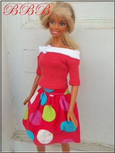 Barbie Clothes Holiday Outfit Red and by BarbieBoutiqueBasics