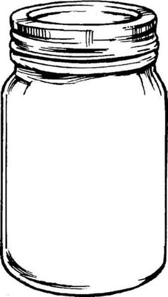 Free Mason Jar Tempplates An Ink Drawing Of A Clipart