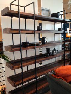 Wood/iron bookcase shelving unit