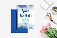 Invitation de mariage Save the Date à imprimer - Invitation de mariage Réservez la date - Mariage aquarelle bleu indigo Mariage DIY