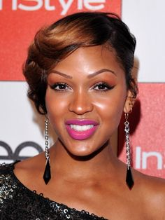 hot pink lips for fall 2012 -  Meagan Good-Franklin