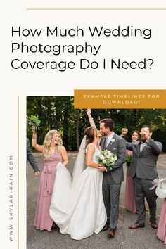 You're looking for a wedding photographer, but aren't sure how much wedding photography coverage you need. This blog post walks you through typical timing of a wedding day. Be sure to grab the free wedding day photography timelines at the bottom of the post to help with planning! Rain Photography, Wedding Photography, Spring Wedding, Wedding Day, Wedding Timeline Template, Church Ceremony, Dance Photos, Free Wedding, Brides And Bridesmaids