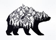 Double Exposure Bear with Mountains Landscape - Animals Characters