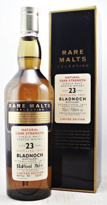 Bladnoch 23 year old Rare Malts Selection 53.6% 70cl A very rare discontinued bottling of Bladnoch Single Malt Scotch Whisky. The Rare Malts Selection. Aged 23 years. Limited Edition Distilledin 1977. Bottle No: 1218 Bottled at Natural Cask Strength of 53.6%: