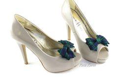 Tartan Shoe Clip Blue Tartan Bow Shoe Clips by BouquetByRosaLoren, $15.00