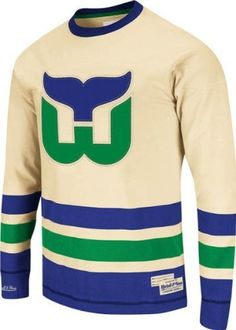 fd74245fe Mitchell  amp  Ness Hartford Whalers Open Ice Long Sleeve T-Shirt - Cream