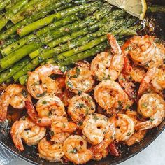 "healthbalancetips 🇺🇸 on Instagram: ""Garlic Butter Shrimp with Asparagus. . INGREDIENTS 1.5 lbs (700g) medium raw shrimp, peeled and deveined 1.5 (700g) asparagus (1 bunch)…"""
