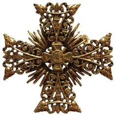 1960s Accessocraft Goldtone Maltese Cross Brooch | From a unique collection of vintage brooches at https://www.1stdibs.com/jewelry/brooches/brooches/