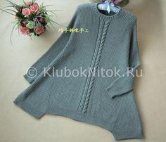 Туника-платье с двумя косами   Вязание для женщин   Вязание спицами и крючком. Схемы вязания.