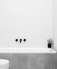 Bathroom, hexagonal tiles, concrete, black faucet
