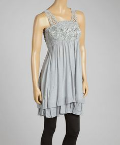 Look what I found on #zulily! Gray Crochet-Overlay Linen-Blend Sleeveless Tunic by Pretty Angel #zulilyfinds
