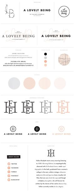 Pale pink and monograms. Pretty branding style guide.