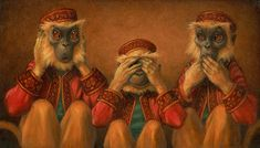 Scott Gustafson - Hear No Evil, See No Evil, Speak No Evil - Search Gallery One for ART limited edition prints, giclee canvases and original paintings by internationally-known artists See No Evil, Wise Monkeys, Workshop, American Illustration, Book Illustration, Counted Cross Stitch Kits, Conte, Limited Edition Prints, Store