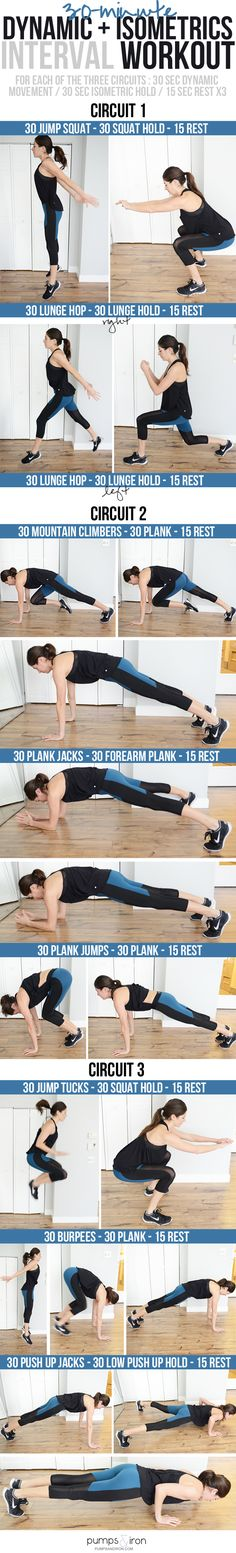 Interval Circuit Workout mixing explosive movement and isometric holds - great to do at home!