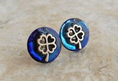 royal blue four leaf clover earrings, stud earrings, tiny earring, celtic jewelry, irish jewelry, unique gift, mens jewelry, mens earrings by NatureWithYou on Etsy