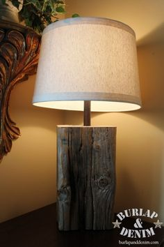 DIY wooden stump lamp - nice idea. Just drill a hole, insert light, attach lamp shade - wa la