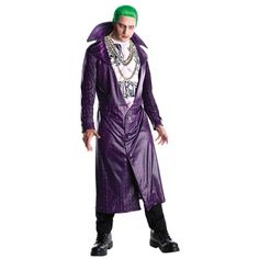 """The Suicide Squad Joker Men's Halloween Costume is perfect for dressing in super-villain style this Halloween. The costume includes the Joker's signature purple jacket and a stylized shirt based on the character's appearance in """"Suicide Squad"""". Joker Cosplay Costume, Costume Dress, Halloween Kostüm Joker, Costume Halloween, Halloween Fancy Dress, Adult Halloween, Purple Halloween, Halloween Parties, Vestidos"""