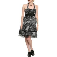 Hot Topic Black & Grey Music Note & Piano Dress ($29) ❤ liked on Polyvore featuring dresses, halter-neck dress, back zipper dress, full skirt, halter dress and sweetheart dress