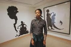 Kara Walker is a contemporary African American artist who explores race, gender, sexuality, violence and identity in her work. She is best known for her room-size tableaux of black cut-paper silhouettes. Kara Walker, Walker Art, African American Artist, African American History, American Artists, African Art, Women In History, Art History, Black History