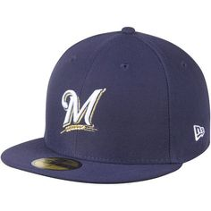 Milwaukee Brewers New Era Women's Authentic Collection On-Field 59FIFTY Fitted Hat - Navy - $26.99