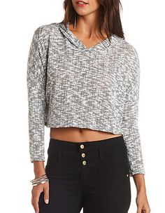 Marled Oversized Cropped Hoodie: Charlotte Russe