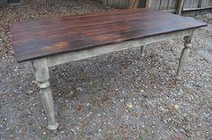 CUSTOM BUILT Reclaimed Barn Pine Farmhouse French Distressed Harvest Table. $1,225.00, via Etsy.