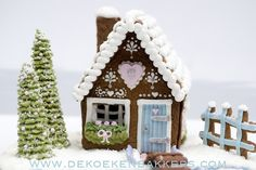 Gingerbread house -- love the trees -- looks like ice cream cones covered in icing (piped using the leaf tip)