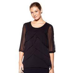 Antthony Dance of Color Tiered Chiffon Blouse