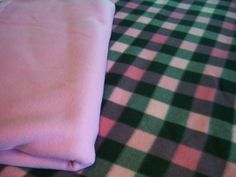 Gray and Pink Plaid Fleece Blanket or Poncho by NorthwoodsNiche, $21.95