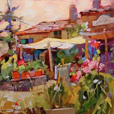 """Chianti Days, Italian Nights"" by Dreama Tolle Perry Oil ~ 8"" x 8"""