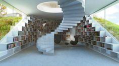 Escaleras y biblioteca. Villa Gug por BIG. Imagen © BIG-Bjarke Ingels Group. Señala encima de la imagen para verla más grande.