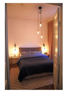 Bedroom, DIY headboard, headboard of wood, fjerlampe, georg jensen ...