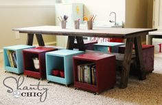 DIY wood_play_table. half the measurements for smaller table.  great for boys room