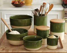 Emile Henry Mixing Bowls, Utensil Jar, Canisters