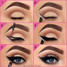 step by step – angel wing eye liner. step by step – angel wing eye liner. Eyeliner Make-up, Makeup Geek Eyeshadow, How To Apply Eyeshadow, Makeup Dupes, Maquillage Normal, Bollywood Makeup, Winged Eyeliner Tutorial, Casual Makeup, Pinterest Makeup