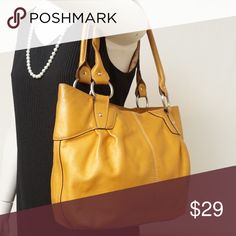 """EUC LEATHER CAMEL TOTE BAG Adorable Color!! Beautiful style. Preloved in excellent condition both exterior and interior. Excellent bag to use for office and for daily use. Size 14""""x11""""x4"""". Pet smoke free home.  AUTHENTIC❣️LEATHER ❣️FAST SHIPPING!❣️MAKE AN OFFER  Please see my other listings🌺💞😍 Bags Shoulder Bags"""