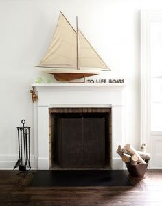 I love a boat on a mantle!