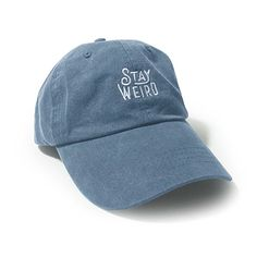 5b7eefce WUE Stay Weird Garment Washed Unisex Cap Vintage Blue at Amazon Men's  Clothing store: