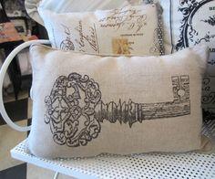 Vintage Key Burlap Cushion