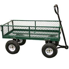 Outdoor garden heavy duty 4 wheel trolley cart wheelbarrow dump