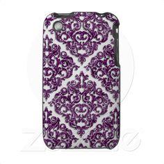 Cute Damask Glitter Purple Sparkle iPhone 3 Case from Zazzle.com