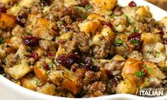 Sausage, Cranberry and Apple Stuffing...I love stuffing and this looks like a winner for sure!