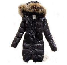 Discount Moncler Mode Pelz Cap Taschen Schwarz Lang Frauen Mäntel Outlet Moncler online shop