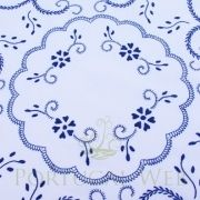 Beautiful Portuguese hand-embroidered tablecloth, round, blue embroidery.