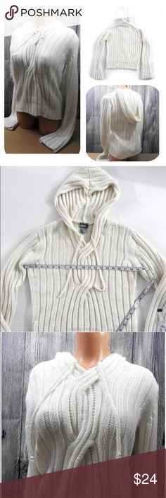 "Cream Cable Knit Hoodie Pullover Long Sleeve RAVE Cable Knit Hoodie Pullover Long Sleeve Size M Cream Comfy Soft Hood Sweater Measures approx 19"" while laying flat, armpit to armpit Tops Sweatshirts & Hoodies"