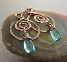Swirly hoop aquamarine blue copper earrings with by IngoDesign - Etsy