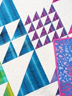 Fun half square triangle quilt with lots of sizes! Half Square Triangle Quilts, Traditional Quilts, Saturated Color, Geometric Designs, Pattern Making, Quilting Projects, Fabric Patterns, Quilt Blocks, Rainbow