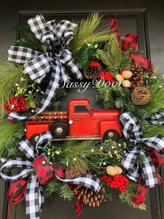 Don't miss out reserve yours today! Christmas Red Truck, Christmas Porch, Plaid Christmas, Rustic Christmas, Christmas Time, Christmas Wreaths, Winter Wreaths, Christmas Ideas, Christmas Centerpieces